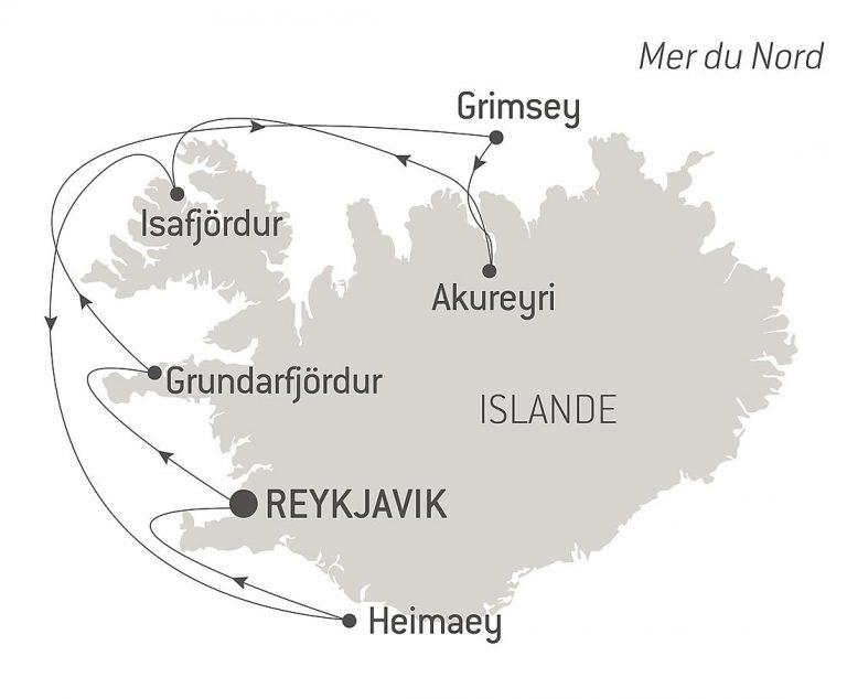 Itinéraire du Ponant en Islande